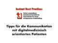 IFABS Tipps für die Kommunikation mit digitalmedizinisch orientierten Patienten Spot 1.007
